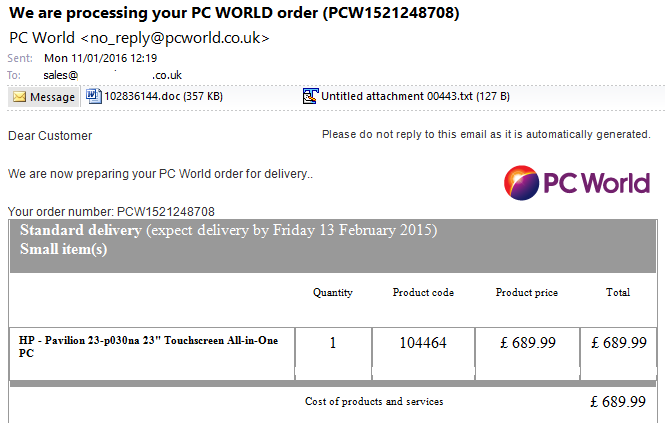 pc world phishing email
