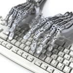 Robot works at keyboard. Futuristic 3d illustration