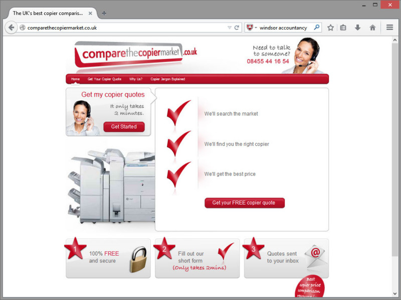 Compare the Copier Website Design