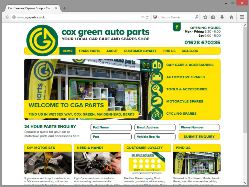 Cox Green Auto Parts Website Design