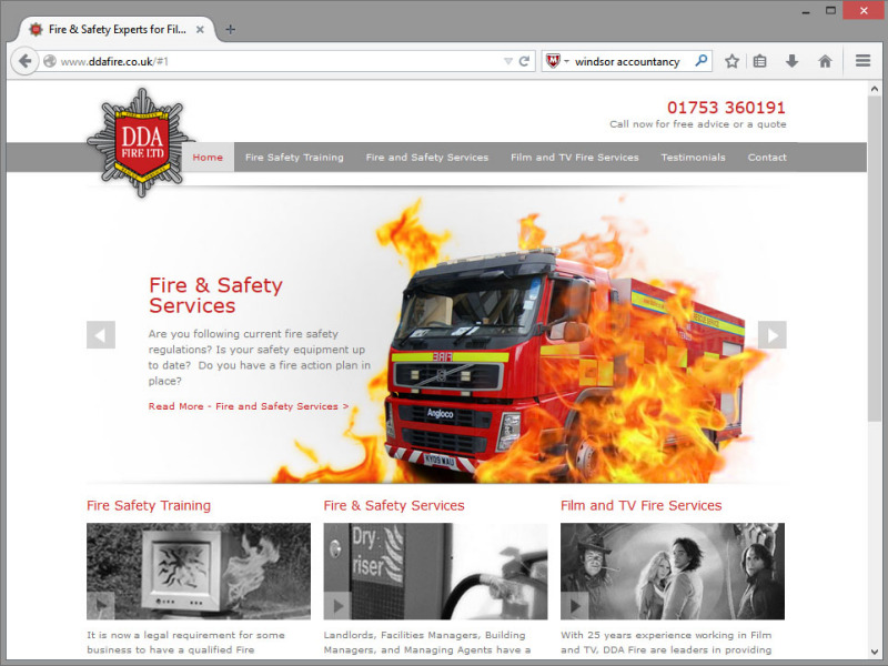 DDA Fire Website Design