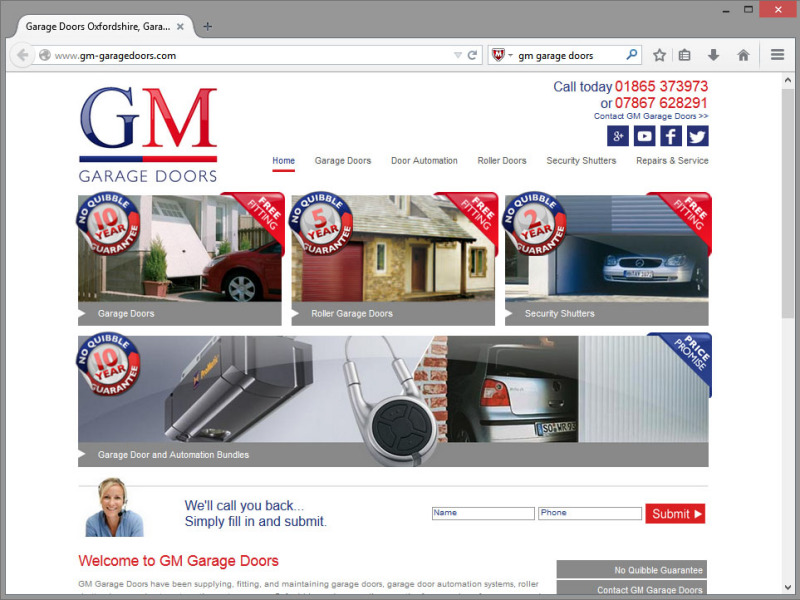GM Garage Doors Website Design