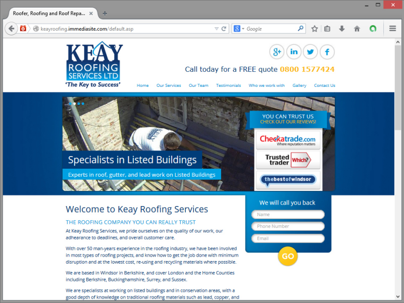 Keay Roofing Website Design