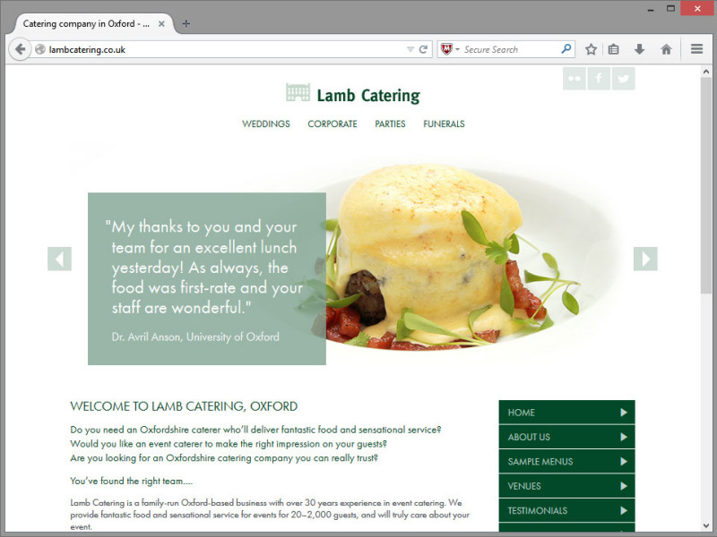 Lamb Catering Website Design
