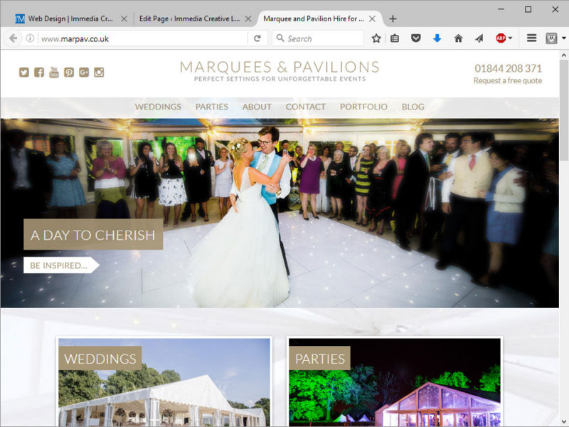 Marquees and Pavilions Website Design