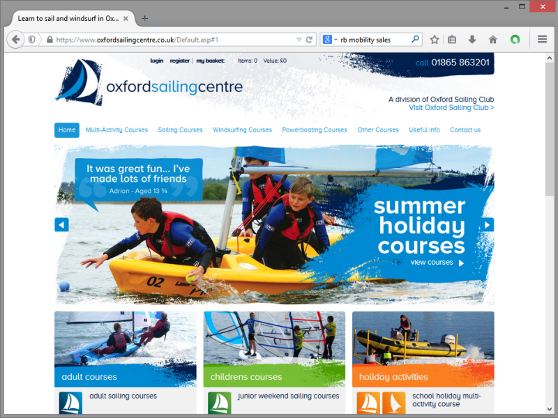 Oxford Sailing Centre Website Design