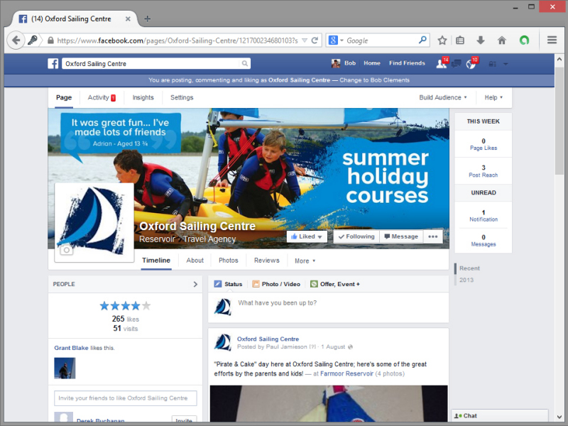 Oxford Sailing Centre Facebook Page