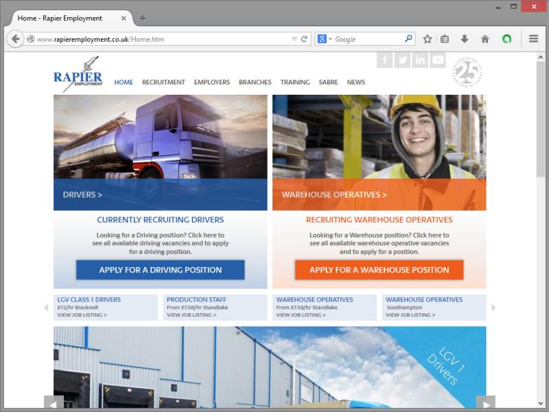 Rapier Employment Website Design