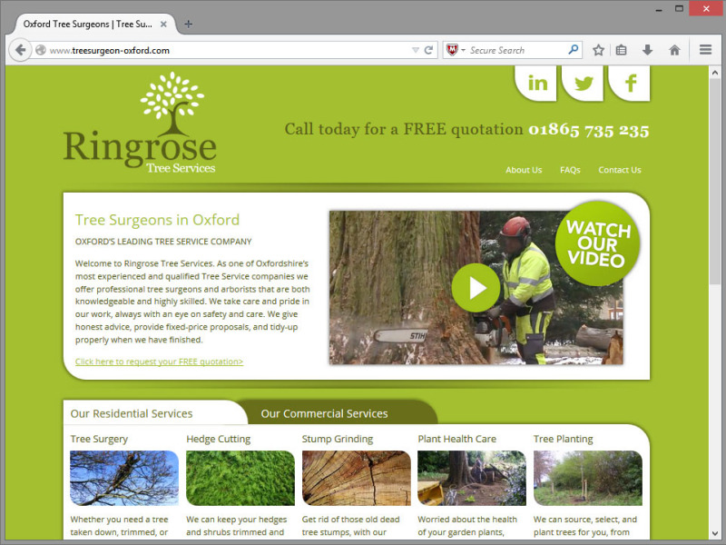 Ringrose Tree Services Website Design