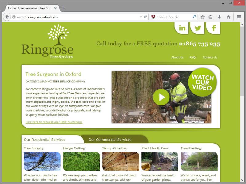 Ringrose Tree Services Website Design
