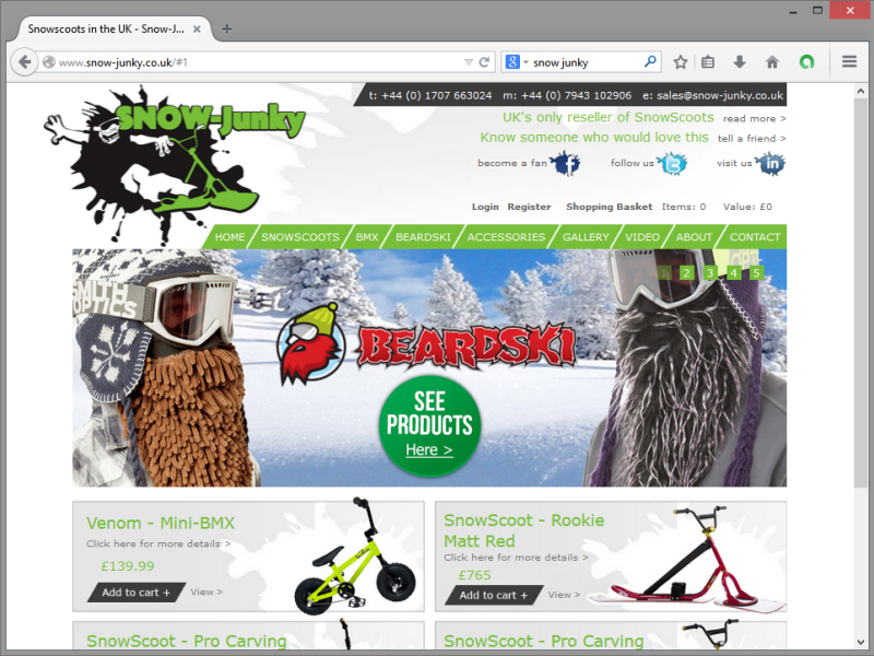 Snow Junky Website Design