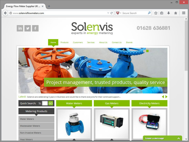 Solenvis Flowmeters Website Design
