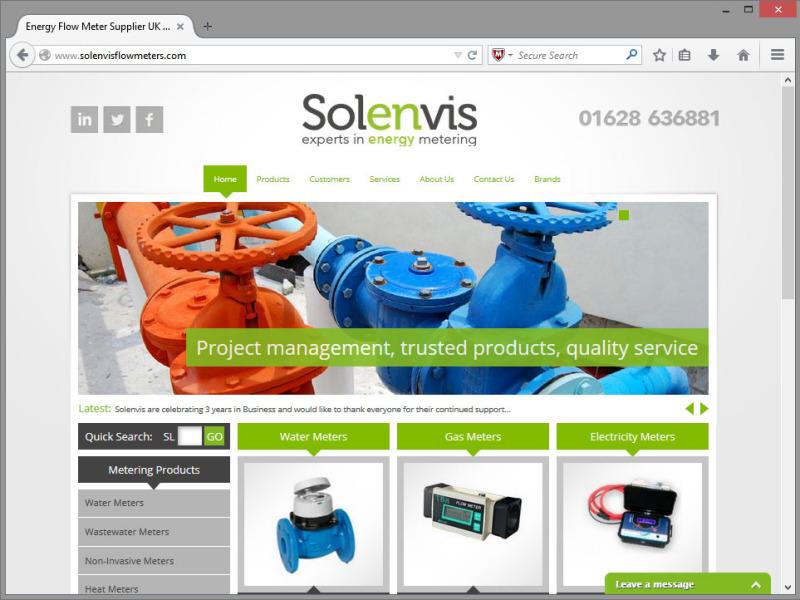 Solenvis Flowmeters Website Design