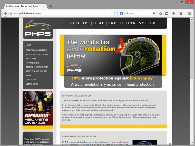 Phillips Helmets Website Design
