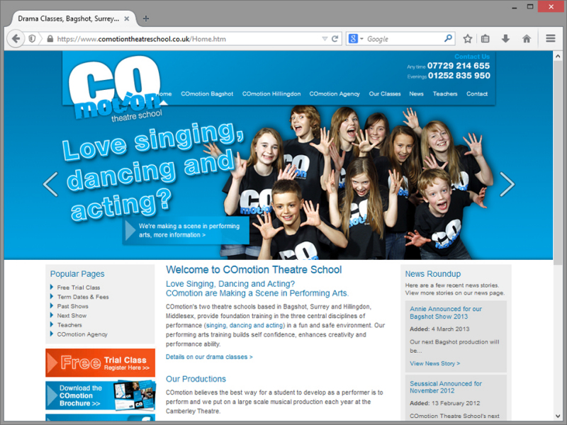 Co-motion Theatre School Website