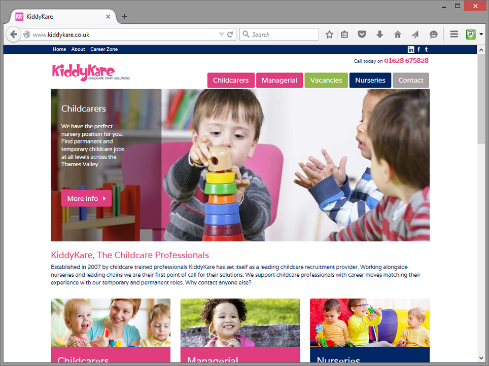 kiddykare recruitment website design