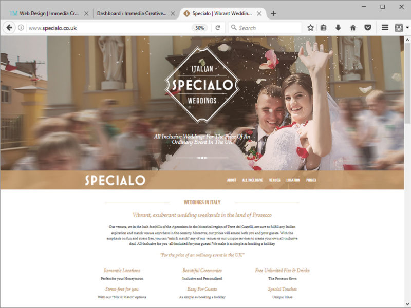 Specialo Italian Weddings Website