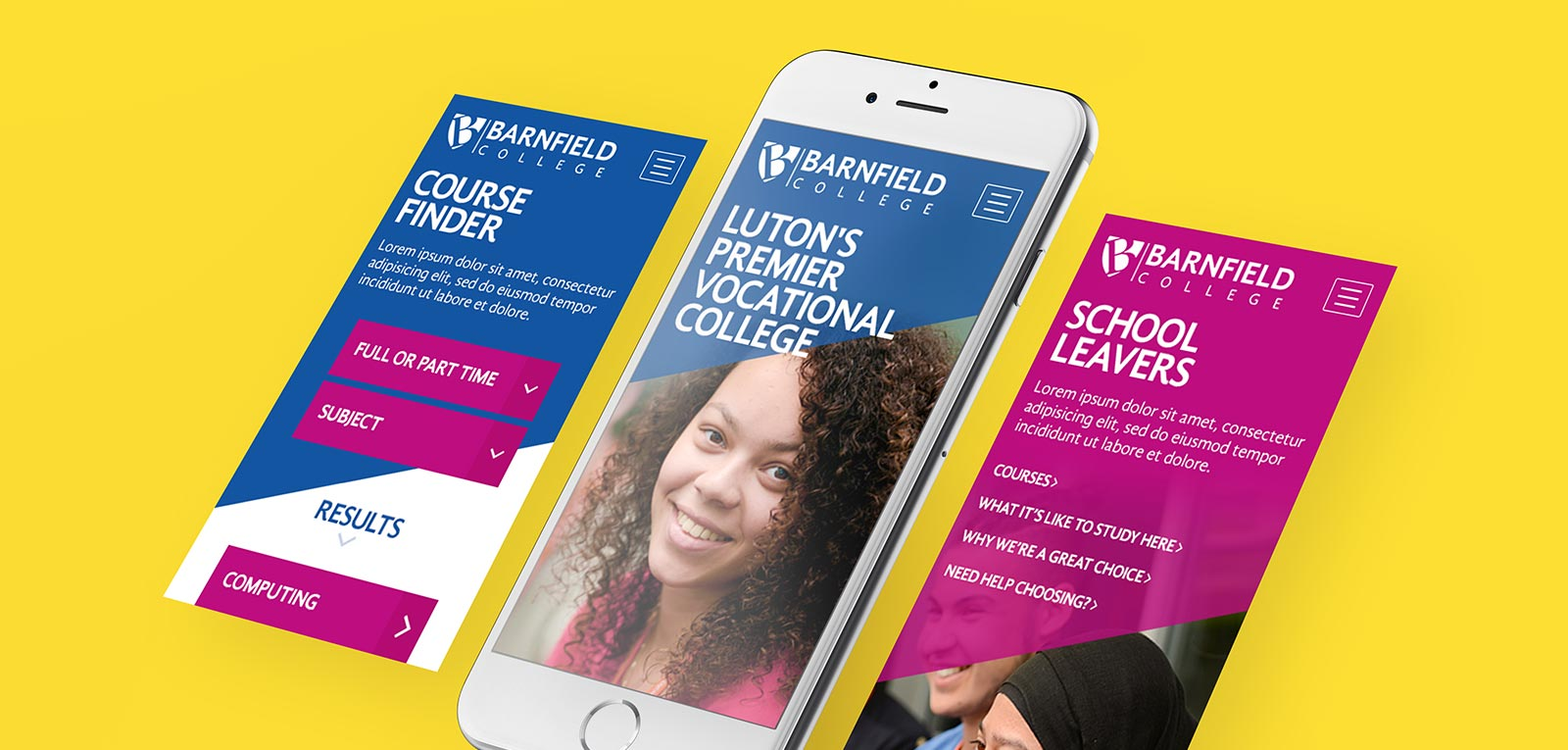 Barnfield College Website Optimised For Mobile Devices