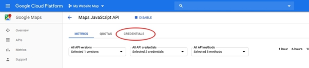 credentials tab